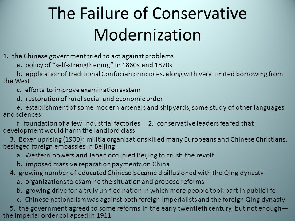 The Failure of Conservative Modernization