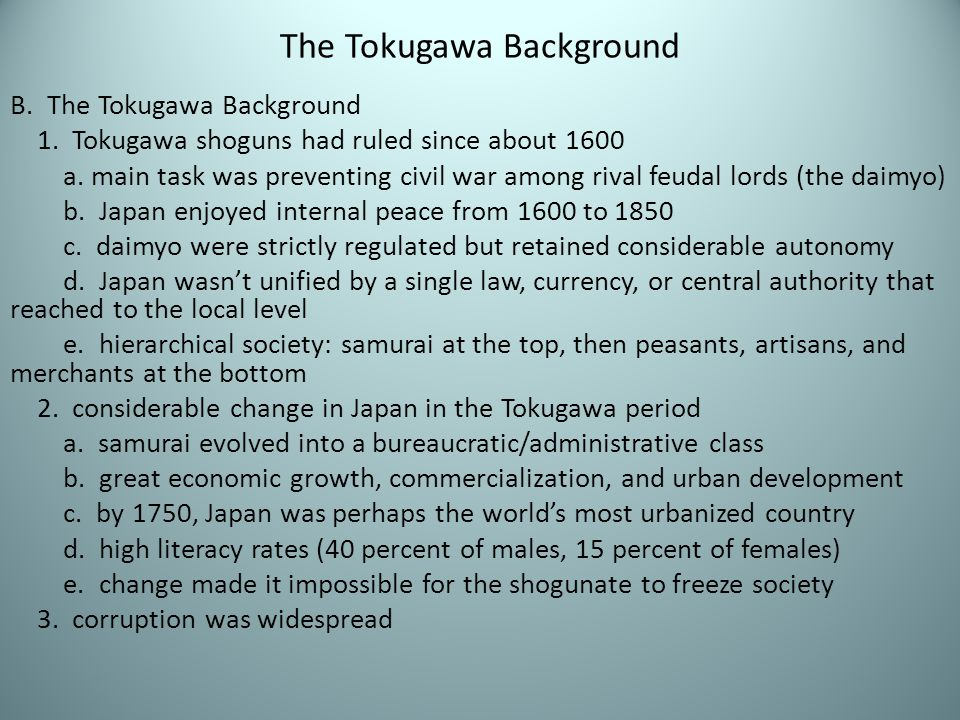 The Tokugawa Background
