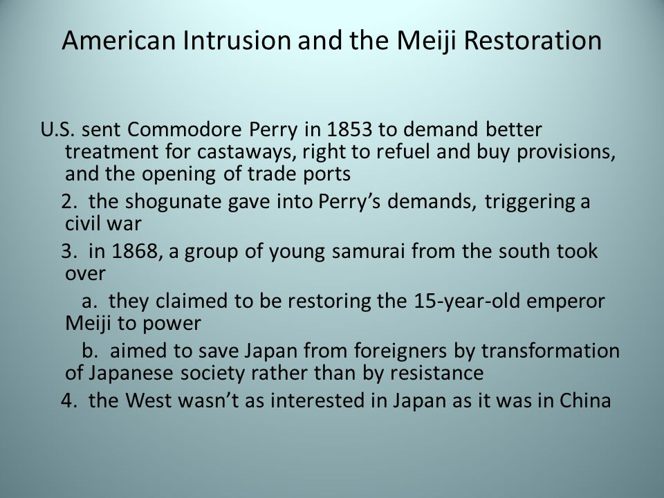 American Intrusion and the Meiji Restoration