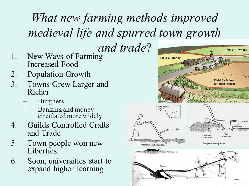 What new farming methods improved medieval life and spurred town growth and trade