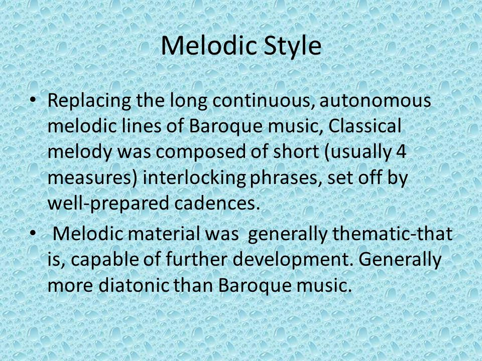 Melodic Style