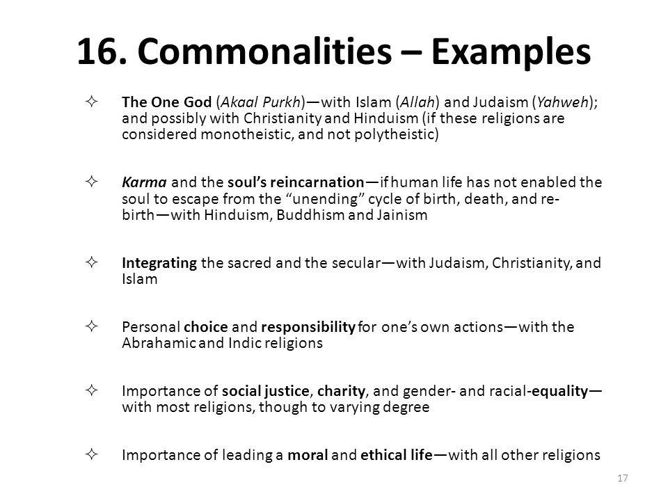 16. Commonalities – Examples