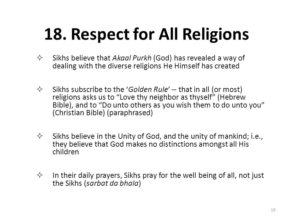 18. Respect for All Religions
