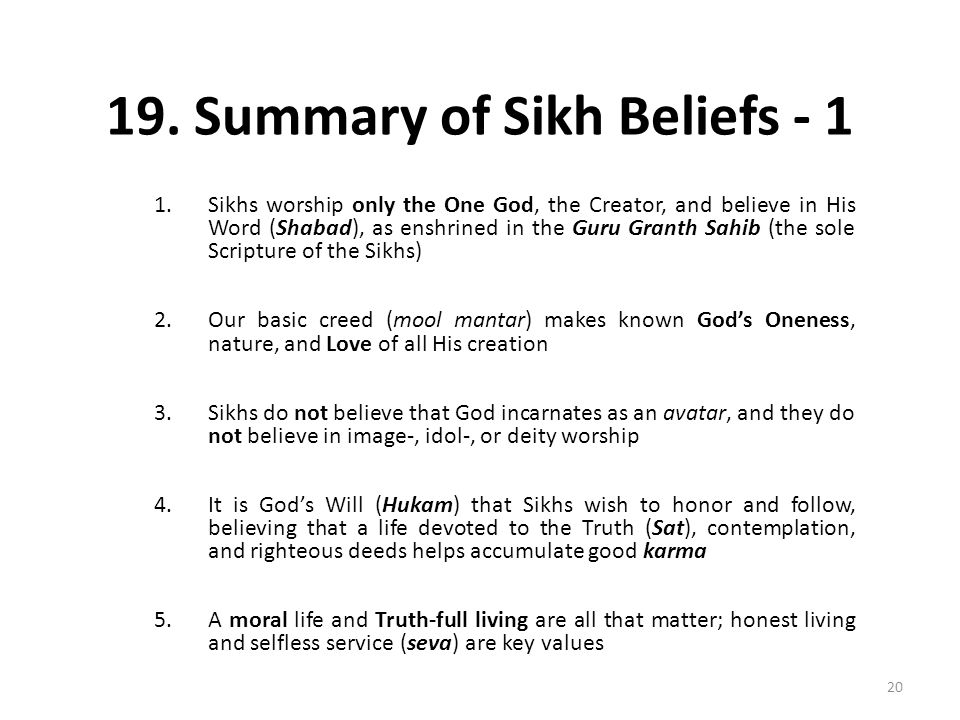 19. Summary of Sikh Beliefs - 1
