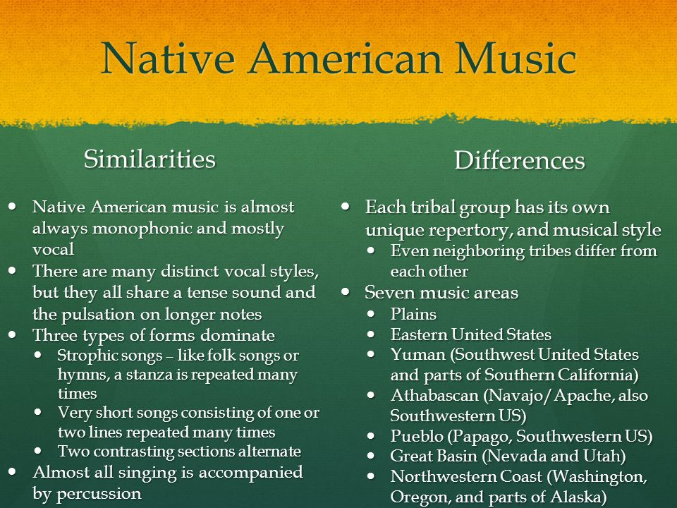 Native American Music Similarities Differences