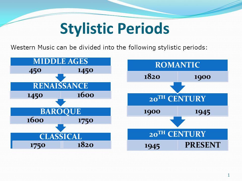 Stylistic Periods MIDDLE AGES 450 1450 RENAISSANCE 1600 BAROQUE 1750