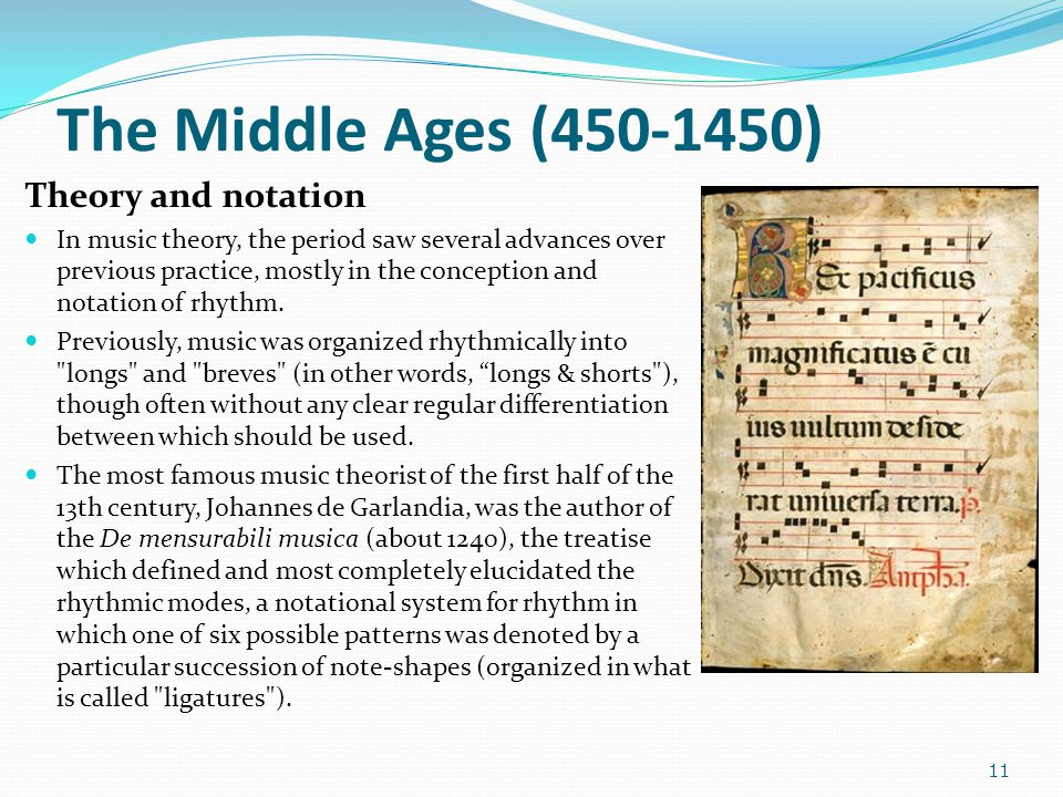 The Middle Ages (450-1450) Theory and notation