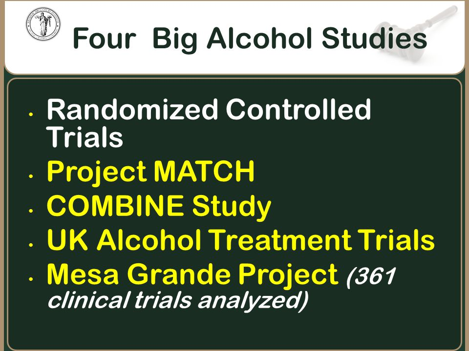 Four Big Alcohol Studies