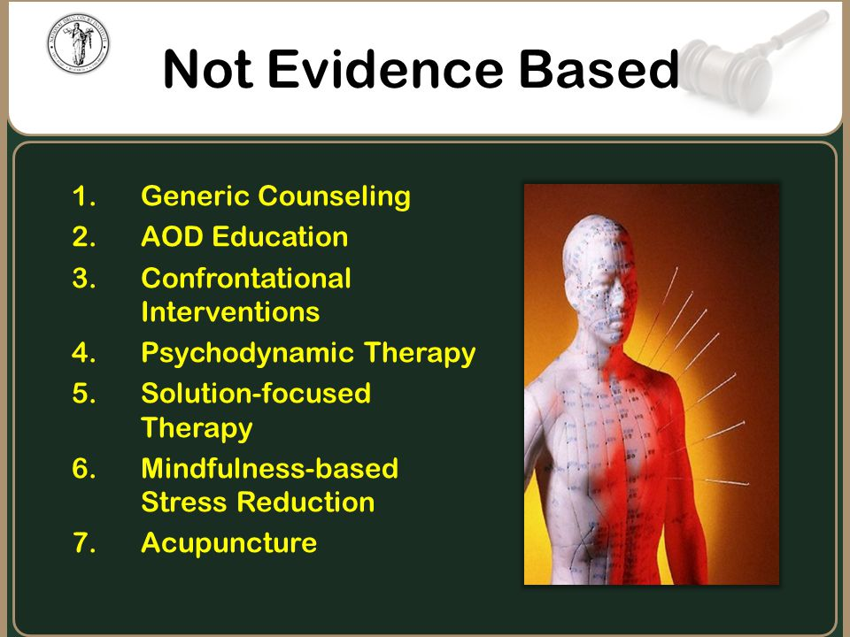Not Evidence Based Generic Counseling AOD Education