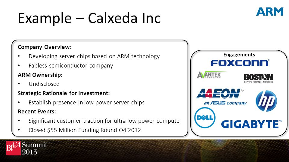 Example – Calxeda Inc Company Overview: