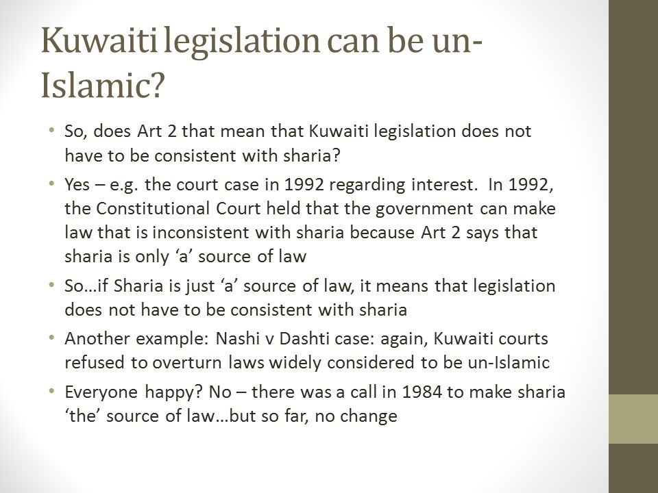 Kuwaiti legislation can be un-Islamic