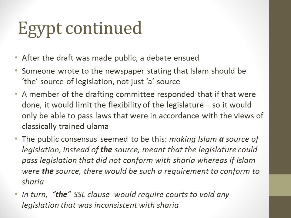 Egypt continued After the draft was made public, a debate ensued