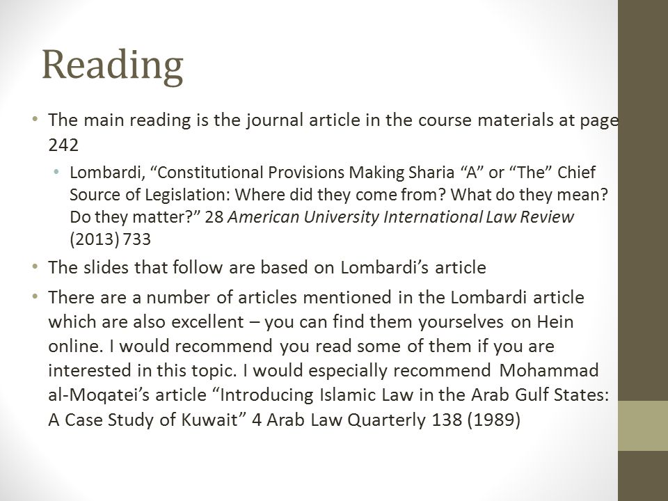 Reading The main reading is the journal article in the course materials at page 242.