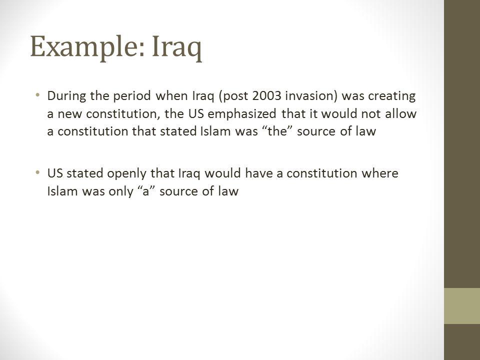 Example: Iraq