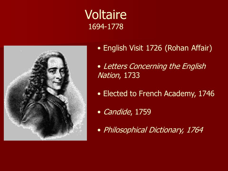 Voltaire 1694-1778 English Visit 1726 (Rohan Affair)