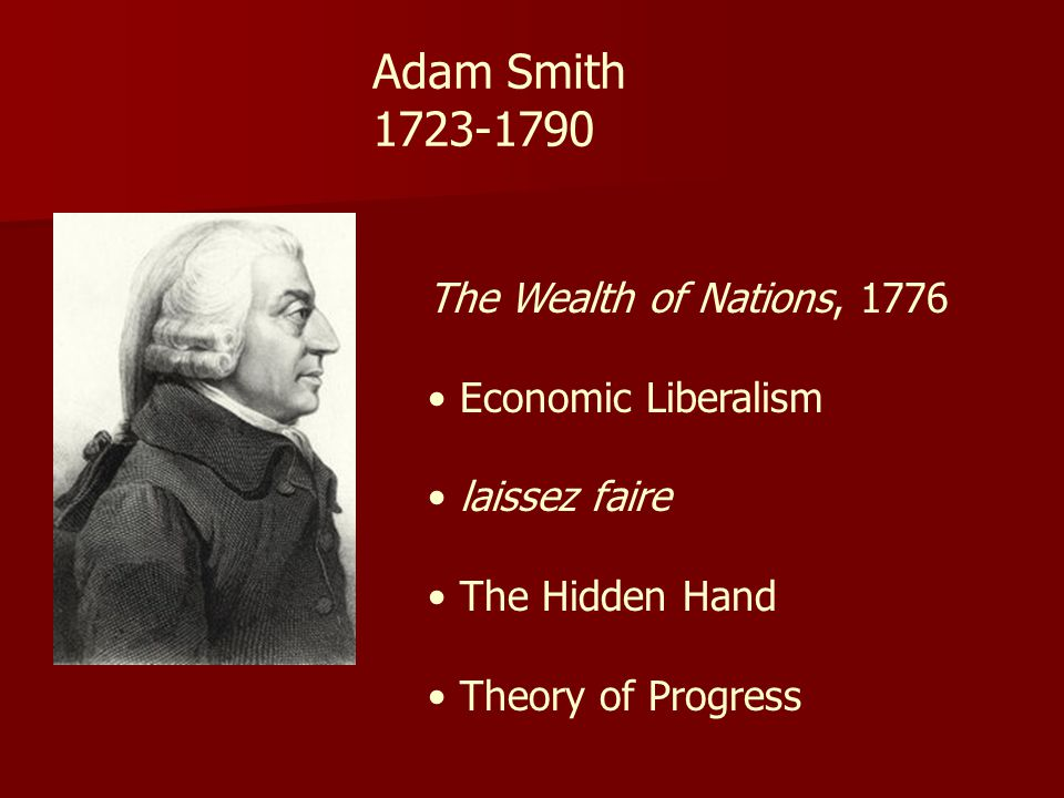 Adam Smith 1723-1790 The Wealth of Nations, 1776 Economic Liberalism
