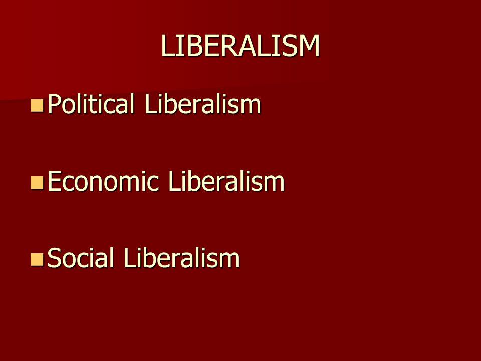 LIBERALISM Political Liberalism Economic Liberalism Social Liberalism