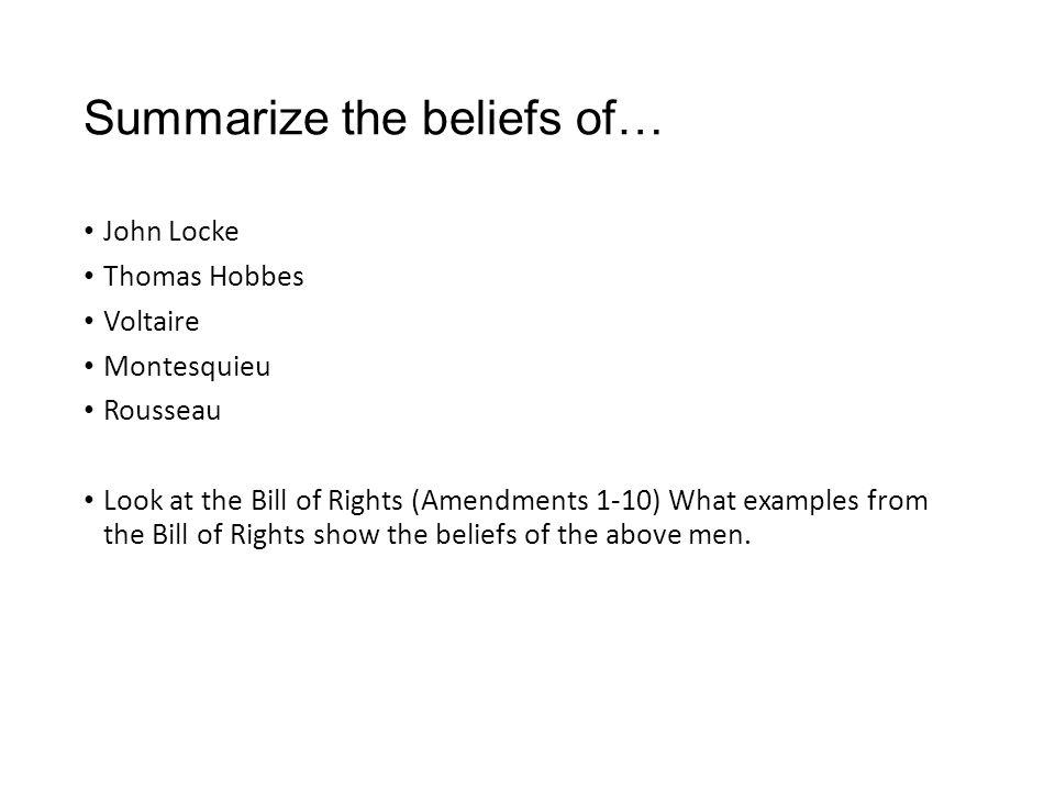 Summarize the beliefs of…