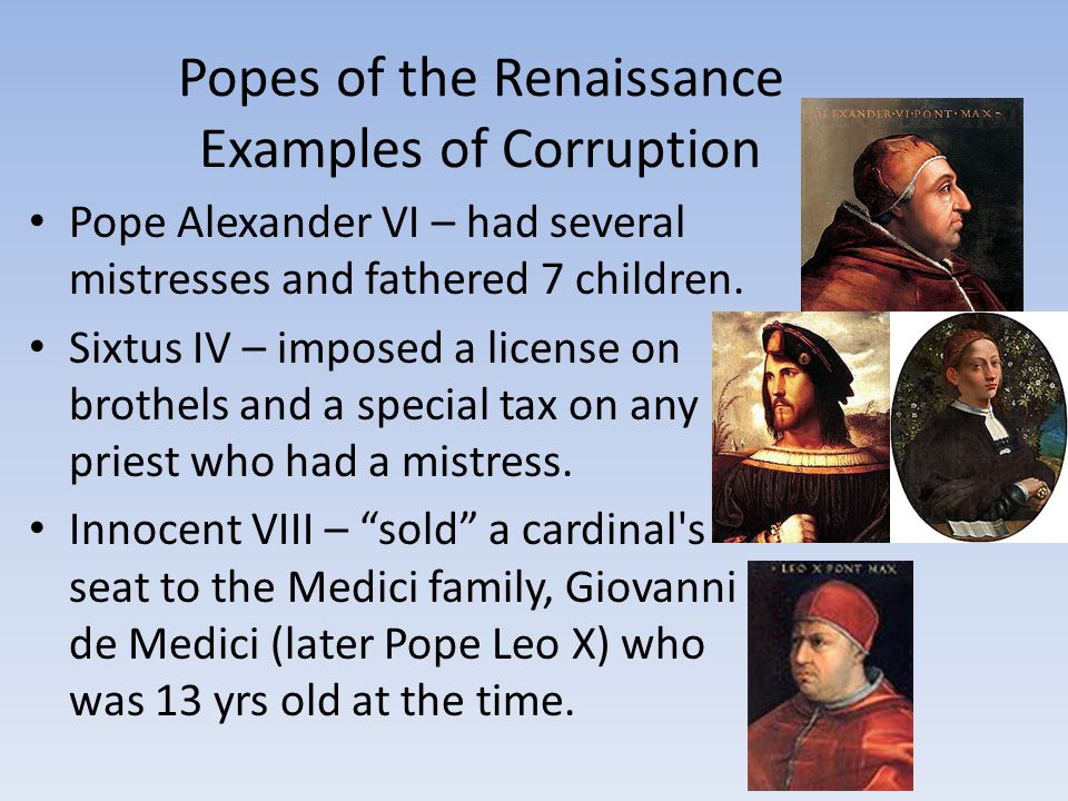 Popes of the Renaissance Examples of Corruption