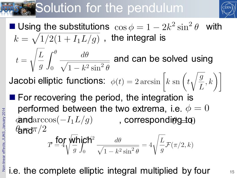 Solution for the pendulum
