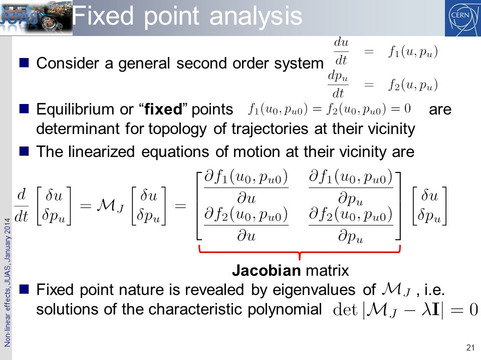 Fixed point analysis Consider a general second order system
