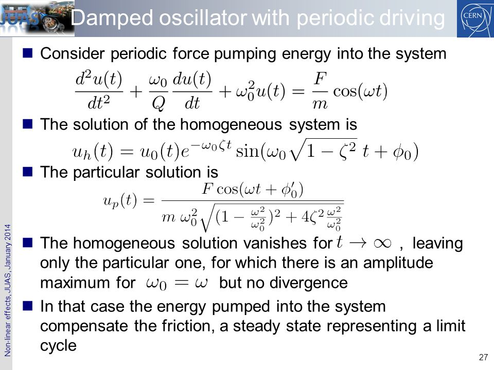 Damped oscillator with periodic driving