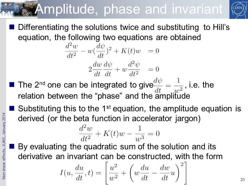 Amplitude, phase and invariant