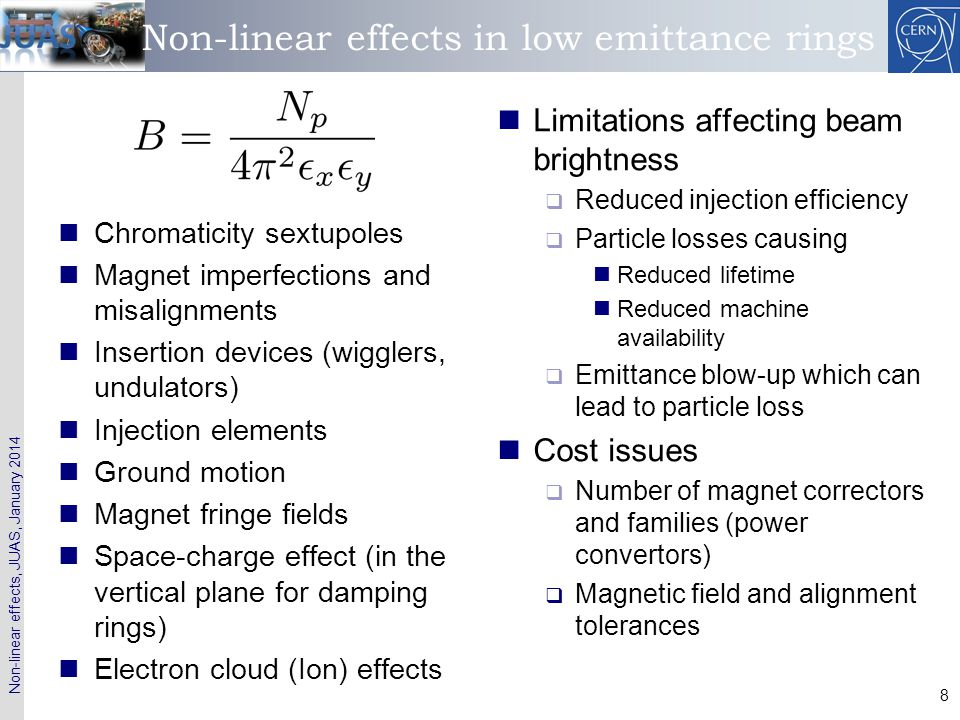 Non-linear effects in low emittance rings