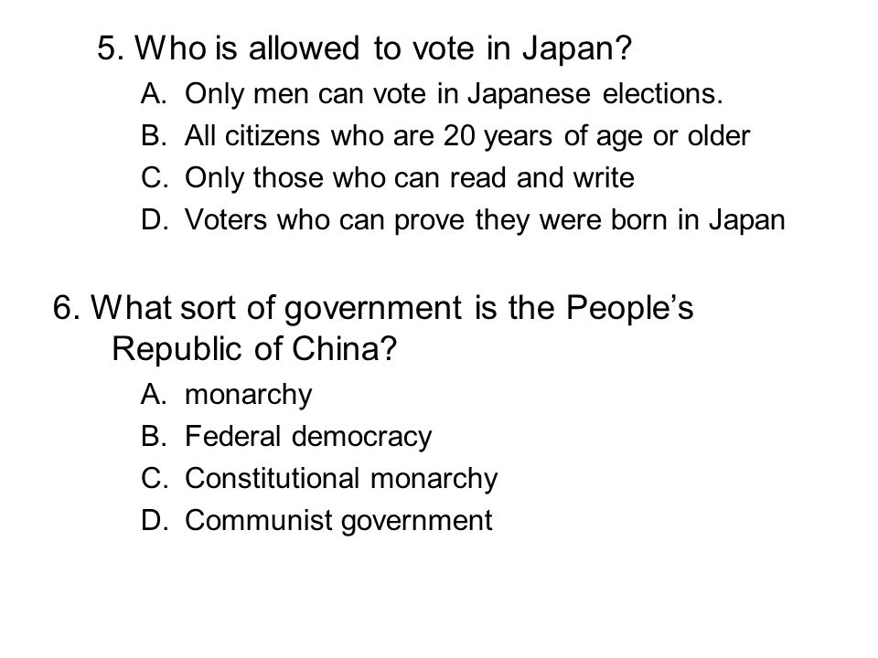 5. Who is allowed to vote in Japan