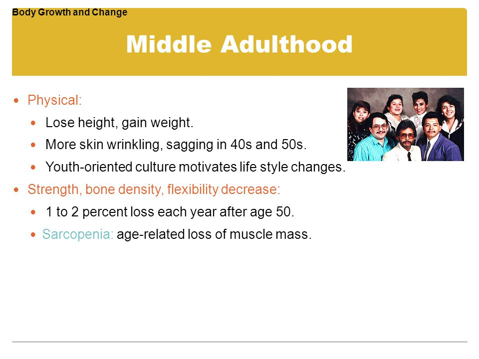 Middle Adulthood Physical: Lose height, gain weight.