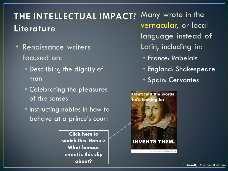 THE INTELLECTUAL IMPACT: Literature