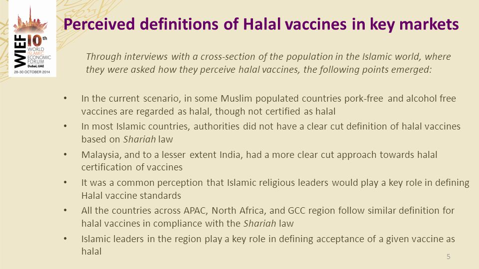 Perceived definitions of Halal vaccines in key markets
