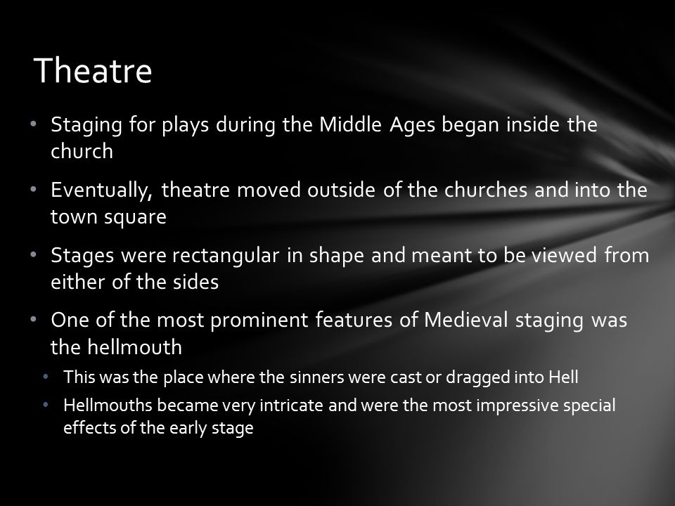 Theatre Staging for plays during the Middle Ages began inside the church.