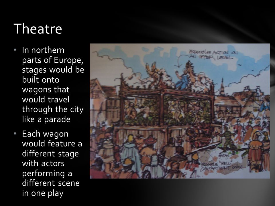Theatre In northern parts of Europe, stages would be built onto wagons that would travel through the city like a parade.