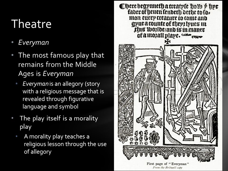 Theatre Everyman. The most famous play that remains from the Middle Ages is Everyman.