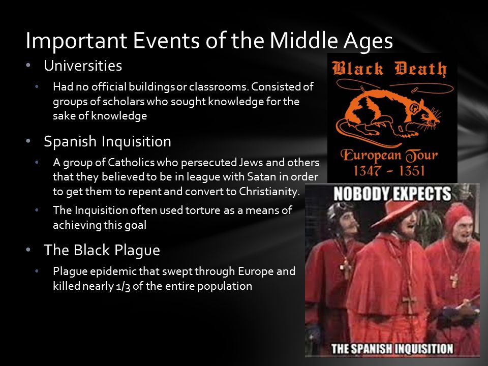 Important Events of the Middle Ages
