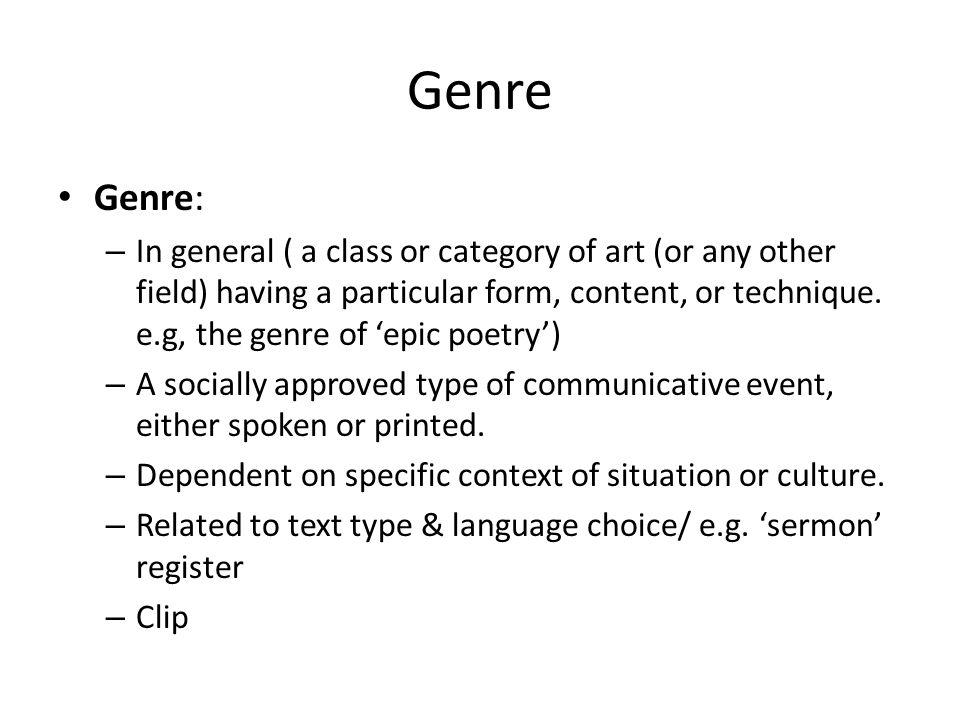 Genre Genre: