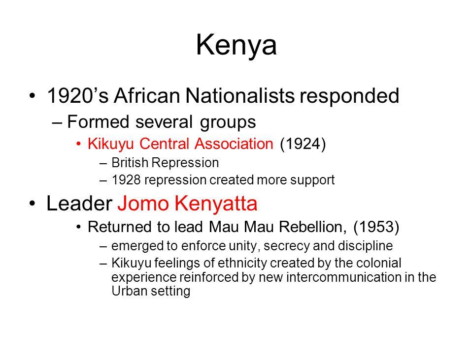 Kenya 1920's African Nationalists responded Leader Jomo Kenyatta