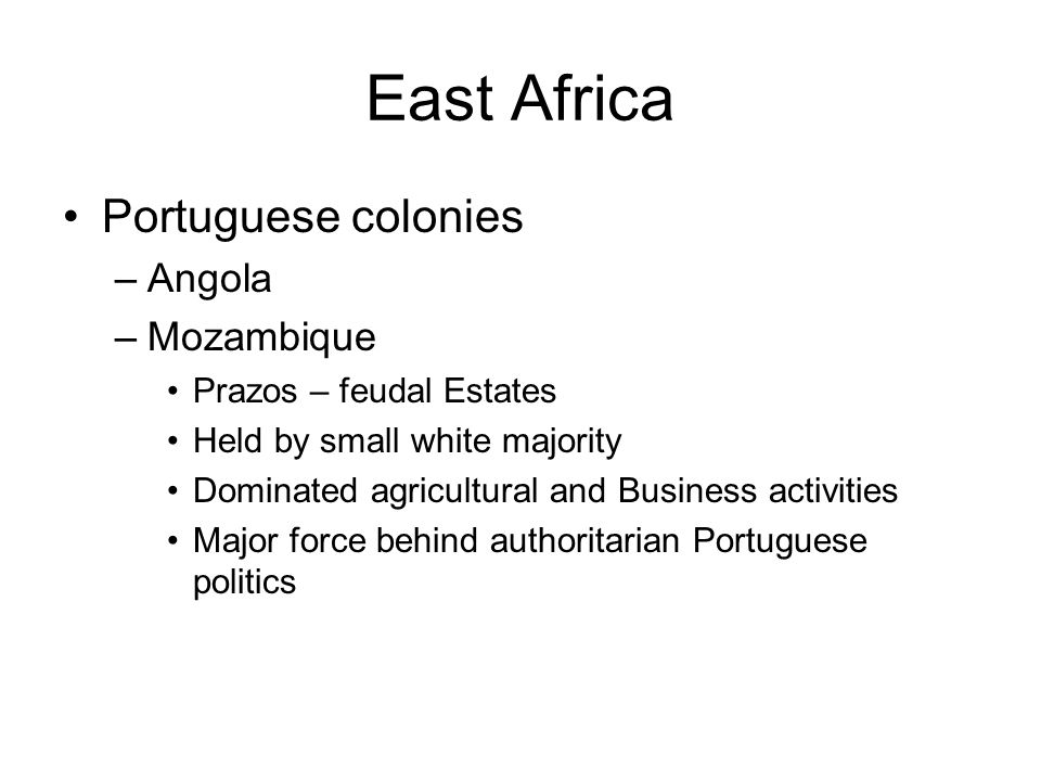 East Africa Portuguese colonies Angola Mozambique