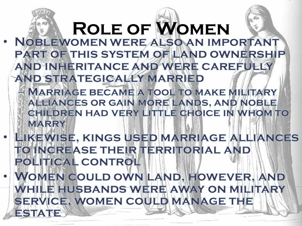 Role of Women Noblewomen were also an important part of this system of land ownership and inheritance and were carefully and strategically married.