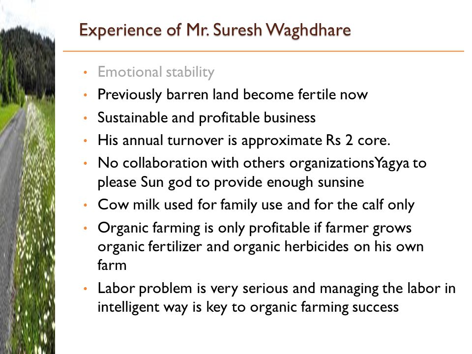 Experience of Mr. Suresh Waghdhare