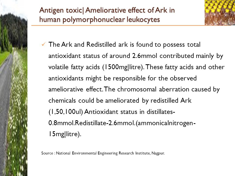 Antigen toxic| Ameliorative effect of Ark in human polymorphonuclear leukocytes