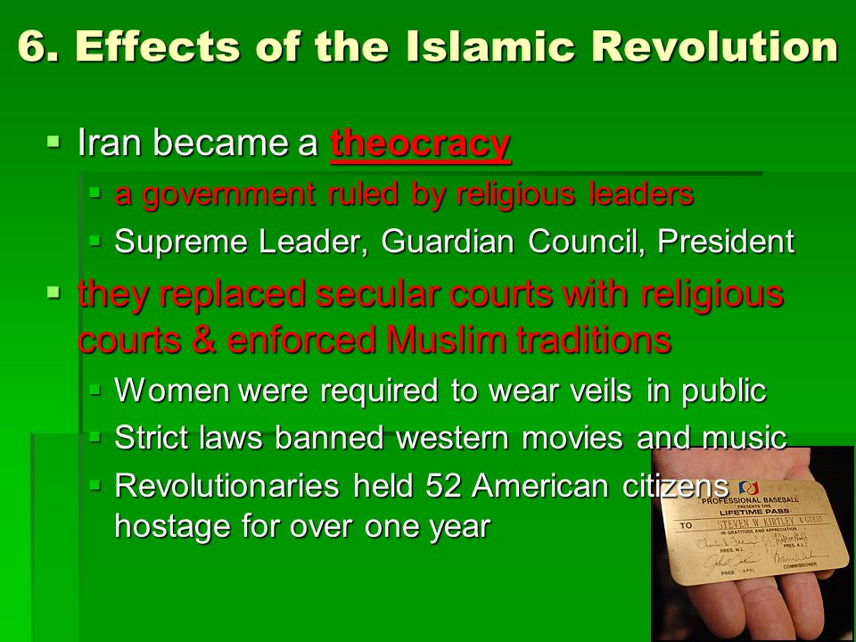6. Effects of the Islamic Revolution