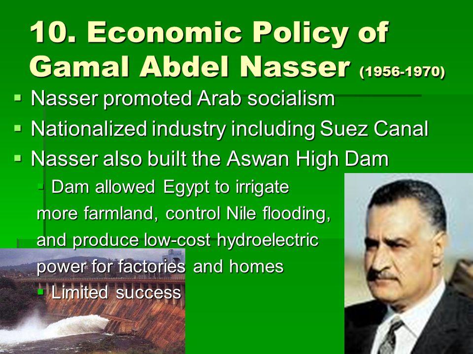 10. Economic Policy of Gamal Abdel Nasser (1956-1970)