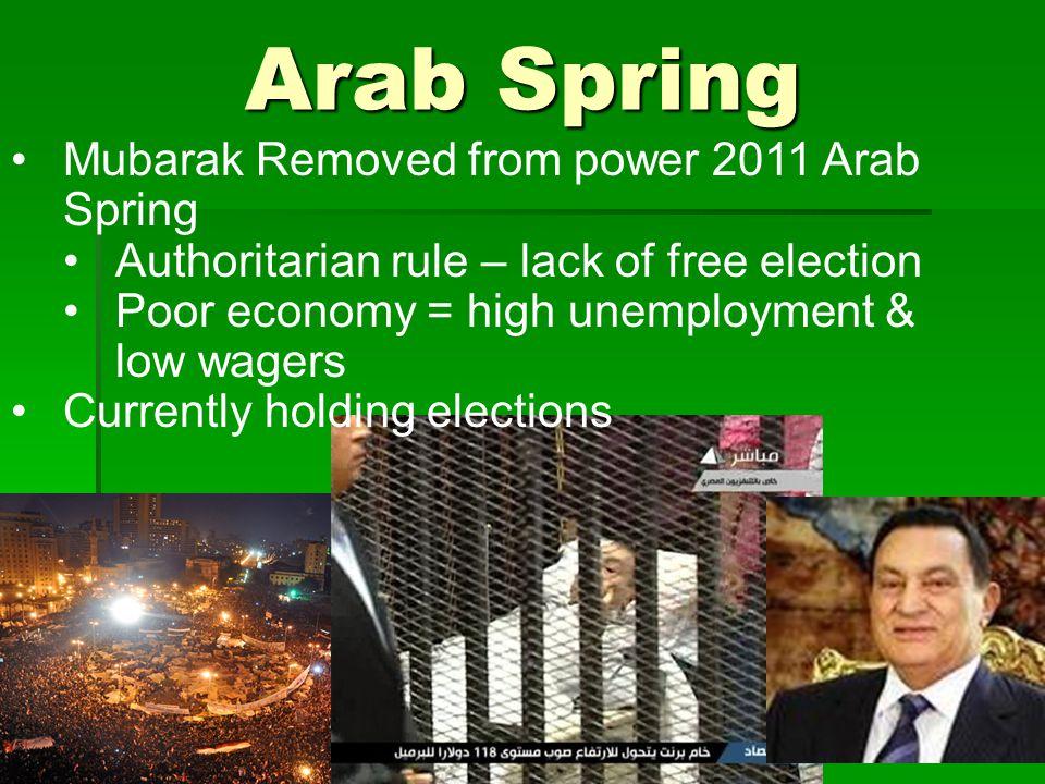 Arab Spring Mubarak Removed from power 2011 Arab Spring