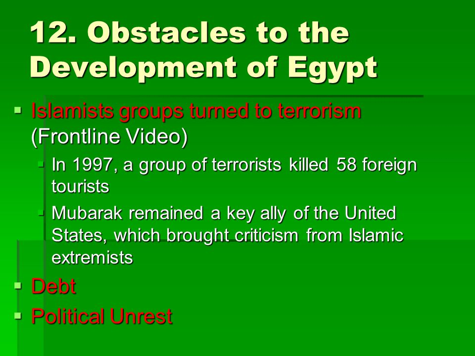 12. Obstacles to the Development of Egypt