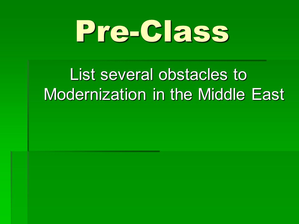 List several obstacles to Modernization in the Middle East