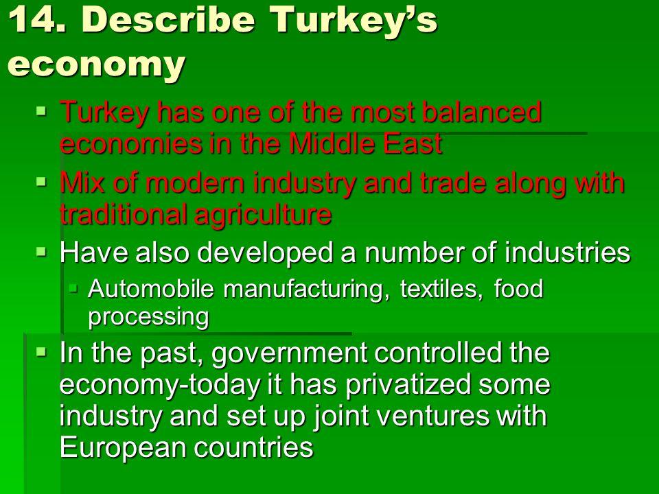 14. Describe Turkey's economy