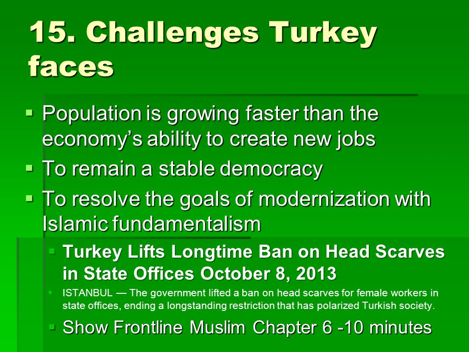 15. Challenges Turkey faces