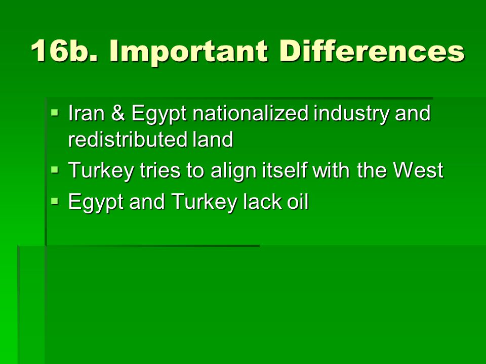 16b. Important Differences